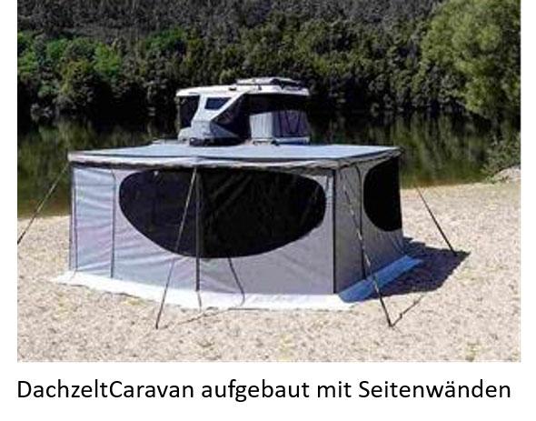 BikeTrailer/DachzeltCaravan mit Seitenwänden (aufgebaut)