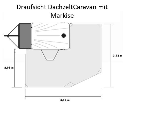 BikeTrailer/DachzeltCaravan mit Markise (Draufsicht)