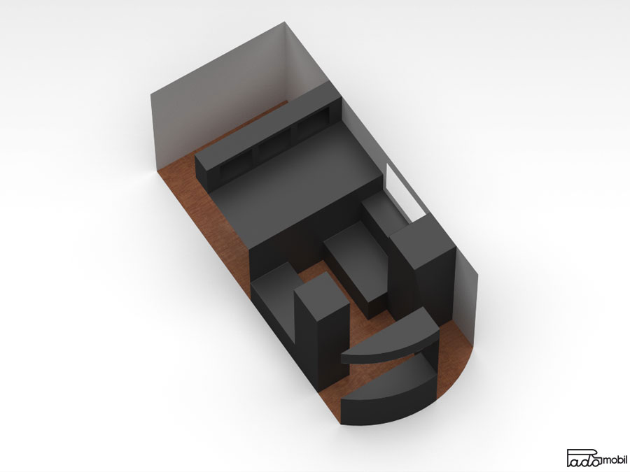 PadoMobil TransportCaravan 3D-Visualisierung Draufsicht